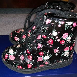 Black floral girls combat boots